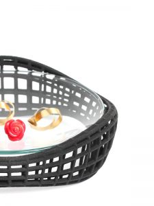 parametric ring dish made of 3d printed nylon with glas - XbyAB jewelry design