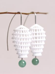 large but lightweight dangle earrings made of 3D printed net- the hooks are made of sterling silver with green agate beats at one end. designed by XbyAB jewelry design