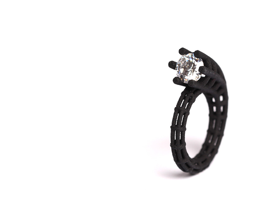 parametric ring design. Round ring band carries a white zirconia in one end. designed by XbyAB