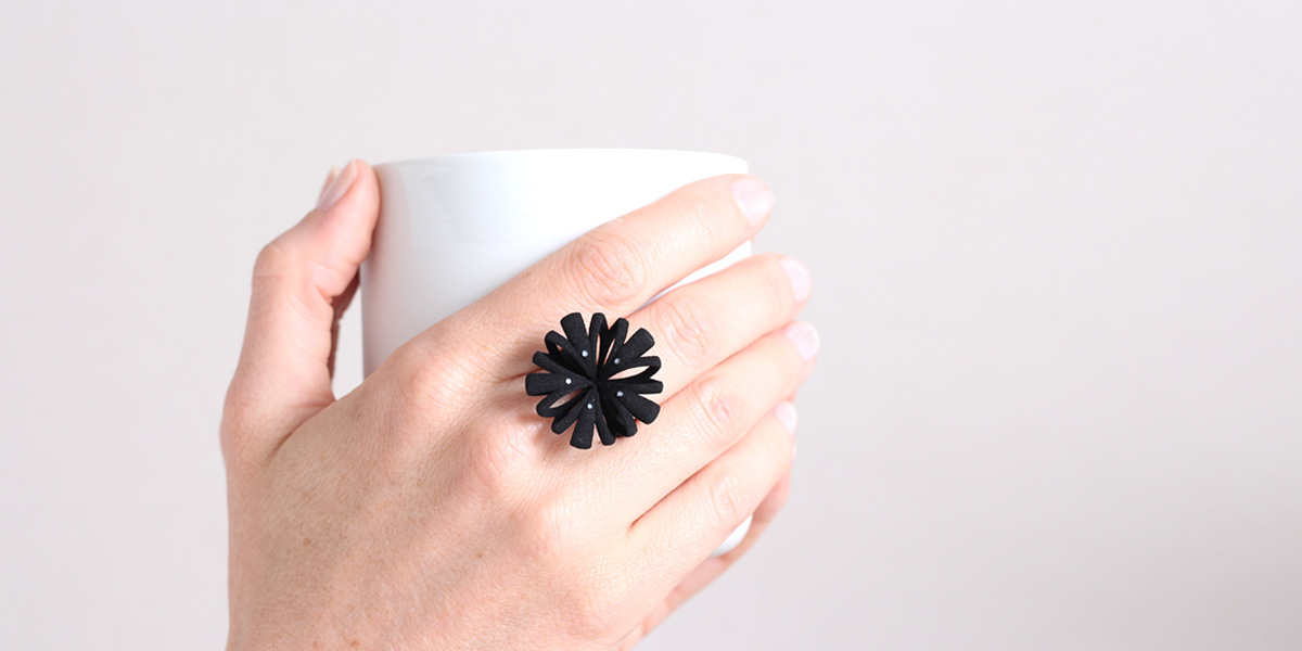 black elegant floral ring