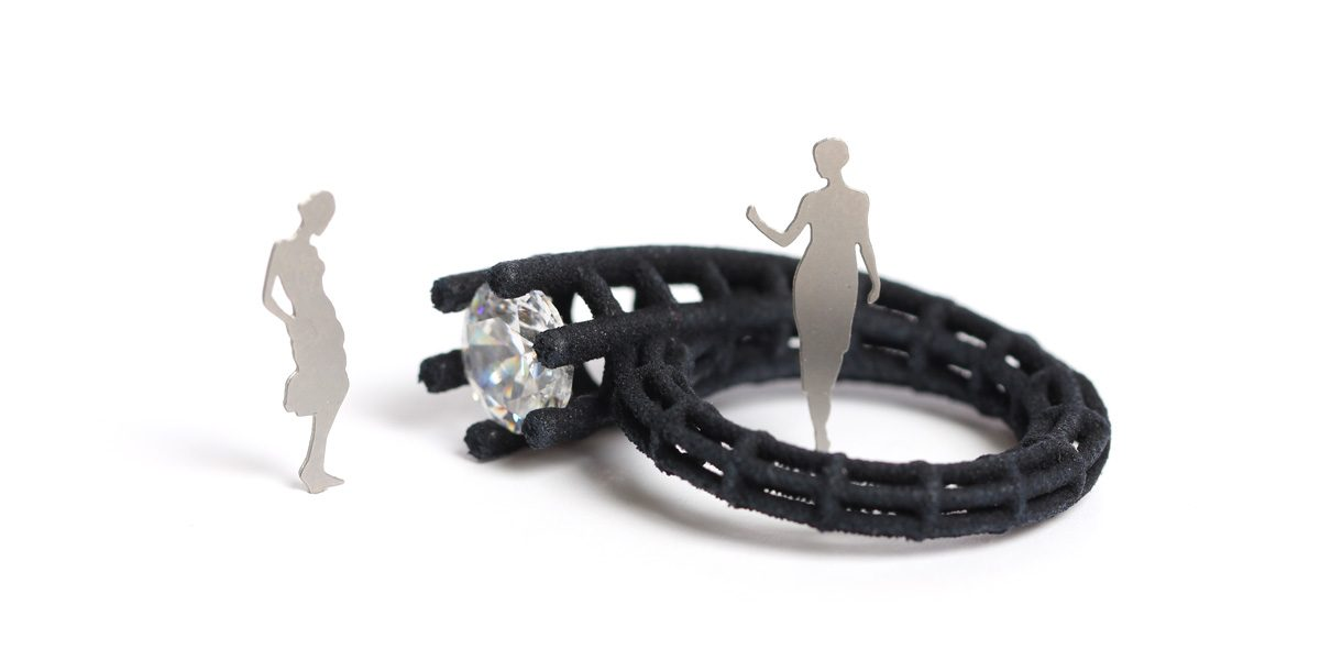 Black solitaire ring with architecture silhouettes